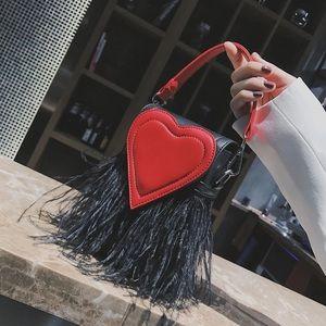 Handbags - Black and red heart shoulder bag